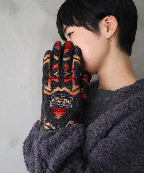 【PENDLETON/ペンドルトン】ネイティブ柄 ウール手袋 /グローブ/LADYS PLAID