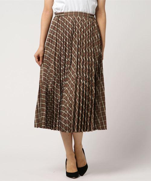 [AMERICAN HOLIC] チェックプリーツロングスカート