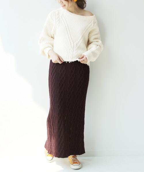 ケーブル編みニットスカート13