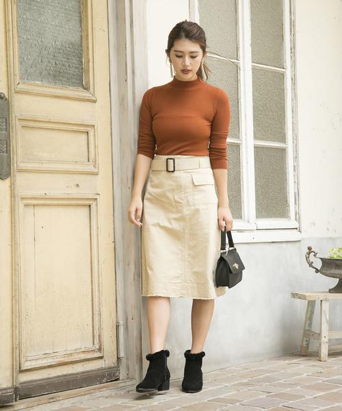 [210nouve] ウエストベルトAラインスカート