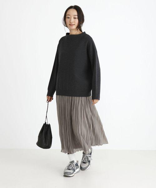 ポリエステルジャージープリーツスカート