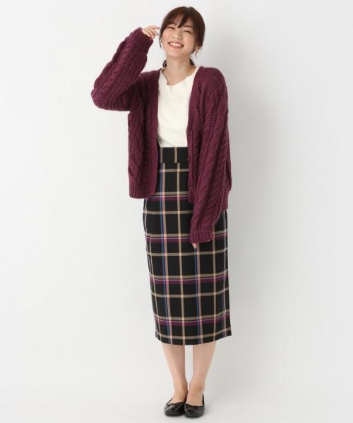 TRサスツキチェックタイトスカート
