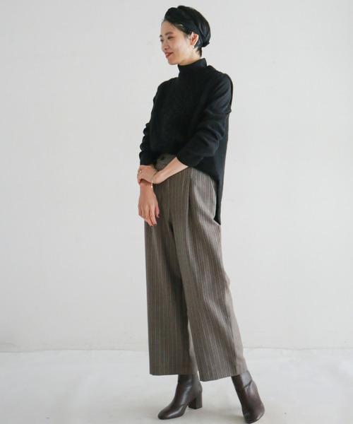 [NOMBRE IMPAIR] 【Fabric in Italy】PENNYストライプ タック9分丈パンツ
