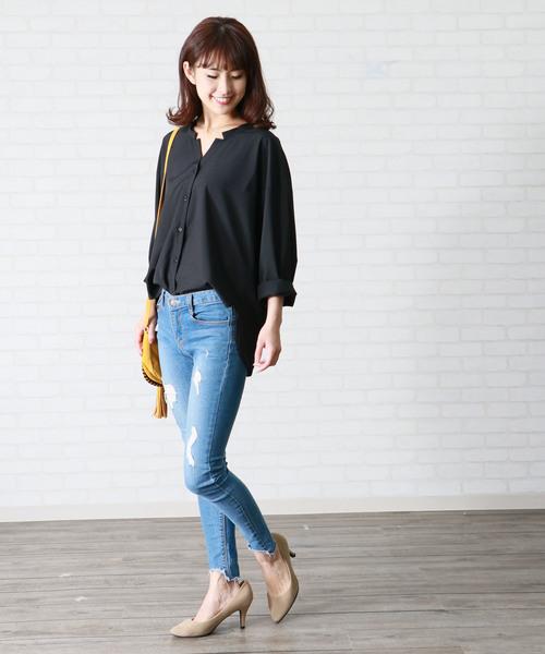 [HER CLOSET] 【HERCLOSET】カットVネックシャツ