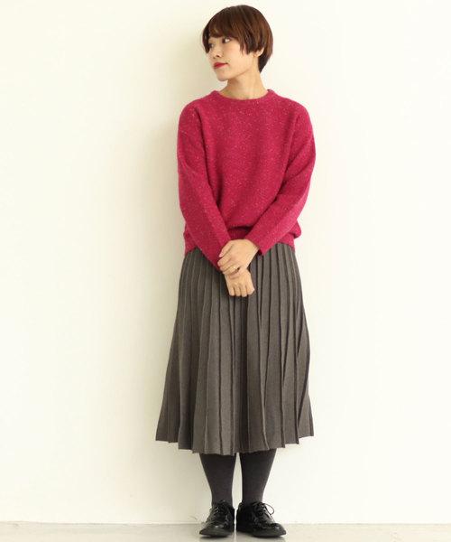 iki Vis/Nyラメ引き揃え Knitプリーツスカート