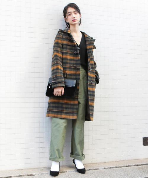 BY∴ パイルメルトンダッフルコート/チェック