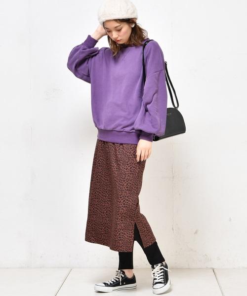 ヒョウ柄ゆるタイトスカート
