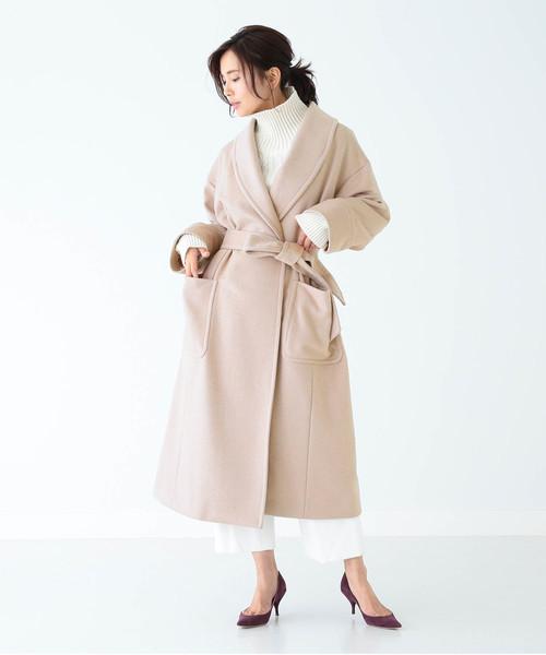 [BEAMS WOMEN] 【BAILA1月号掲載】EFFE BEAMS / カシミヤ ショールカラーコート