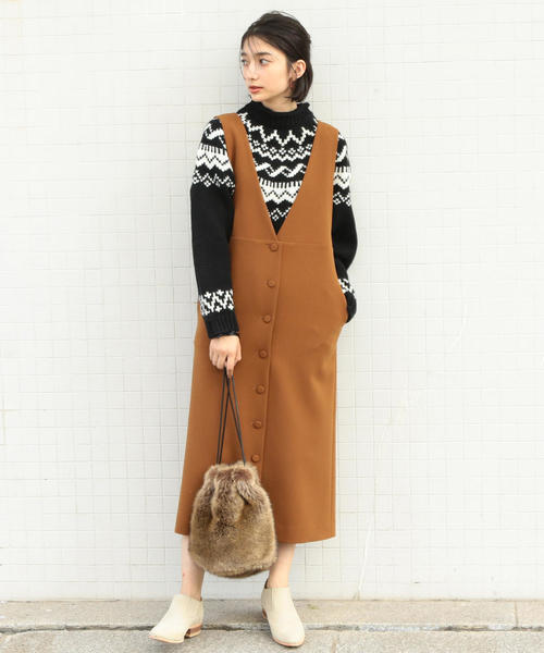 BY∴ フロントボタンジャンパースカート