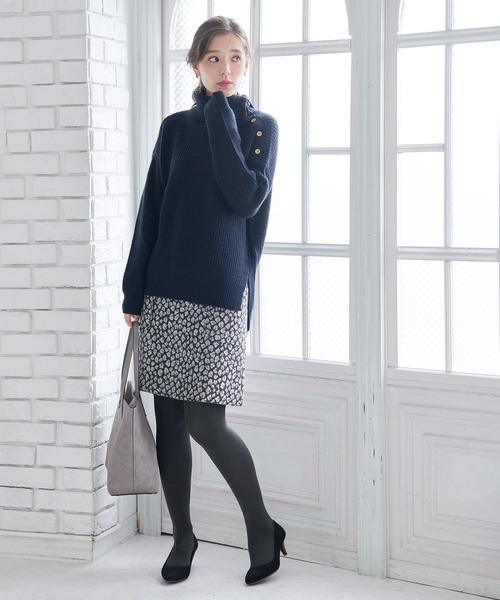 ラメジャガード台形スカート