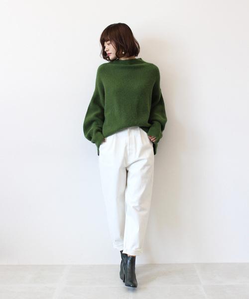 裾ダメージホワイトデニムパンツ