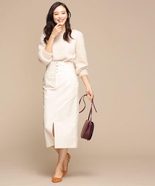 モールスキンボタンタイトスカート