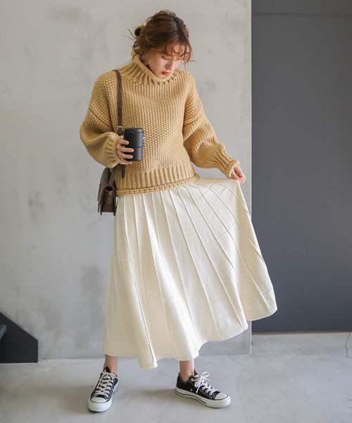 ブロックニットスカート/ウィンドウペン柄ミモレ丈ニットスカート