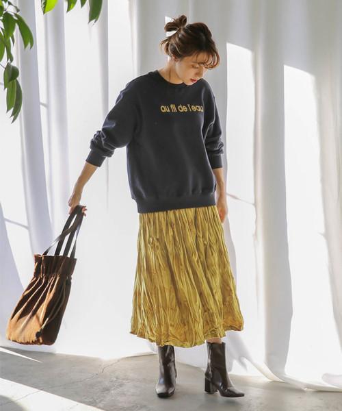 [select MOCA] ベロアフレアスカート/ウエストゴムプリーツミモレ丈スカート