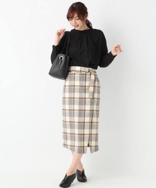 チェックラップタイトスカート