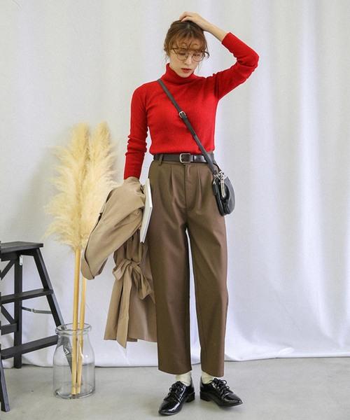 アンクルテーパードパンツ/美形シルエットバックポケット付きスラックスパンツ