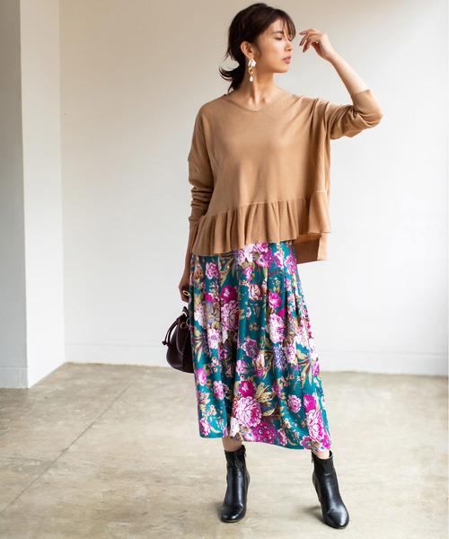 花柄タックロングスカート