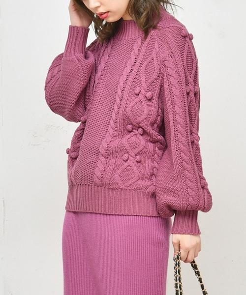 [natural couture] ポンポン付きケーブルドルマン