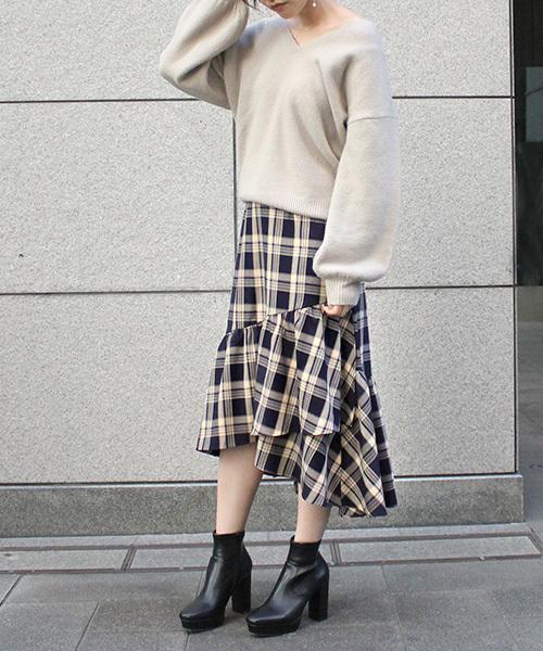 [RANDA] ギャザーヘムラインスカート