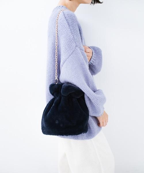 [haco!] パッと持って今気分!エコファー巾着バッグ