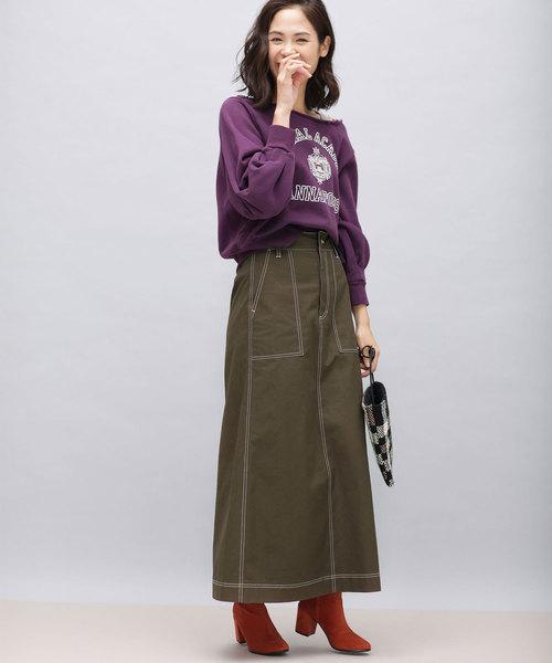 [nano・universe] 【WEB限定】キャンバスステッチマキシスカート
