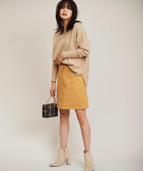 スウェードボンディング台形スカート