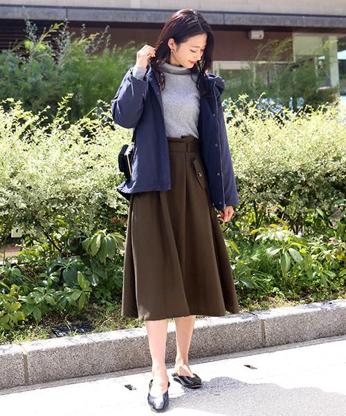 [MARLENE JOBERT] サイドフラップポケット付き 微起毛フレアスカート