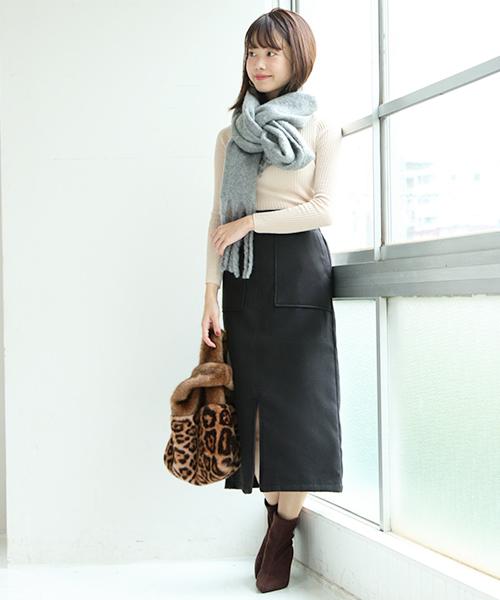 [SESTO] フェイクウールタイトスカート