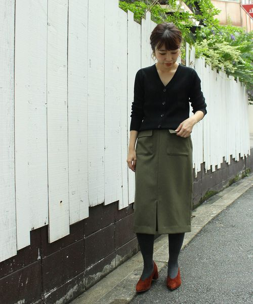 [le.coeur blanc] ウールライクフラップポケットタイトスカート