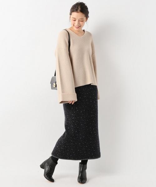 レオパードニットジャガードタイトスカート