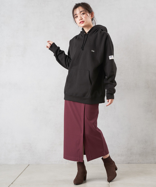 [Discoat] 裏起毛ロングリブカットスカート