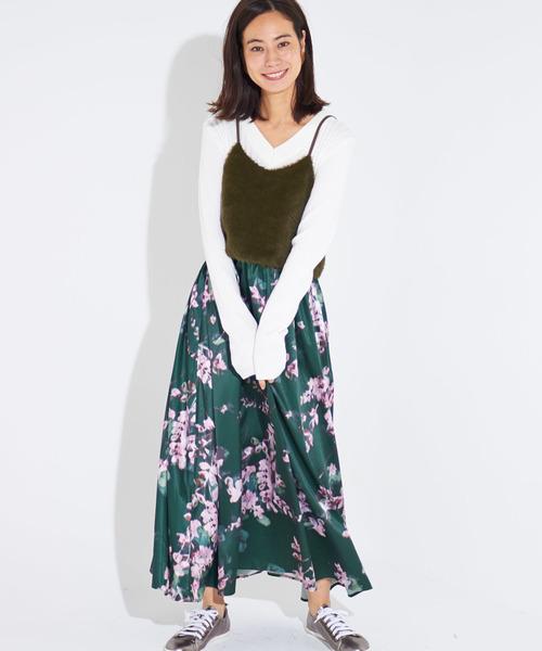 モヘア素材のキャミソールと花柄スカートのドッキングワンピース