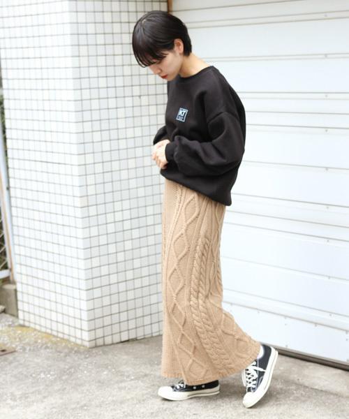 ケーブル編みニットスカート11
