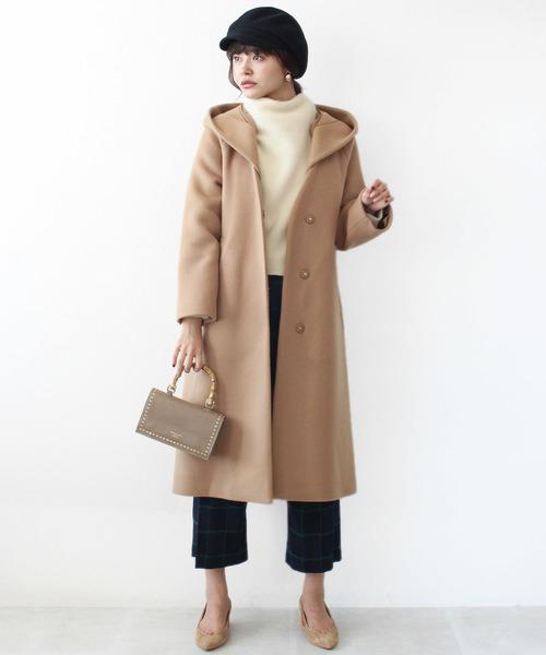 [Jines] 綾二重ビーバーフード付コート ■ 雑誌 MORE 1月号 P156 / JJ 1月号 P58掲載 ■