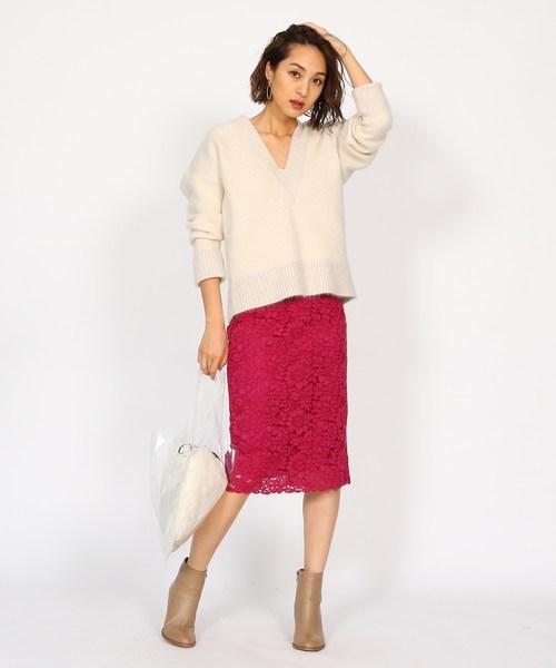 [aquagirl] コードレースタイトスカート