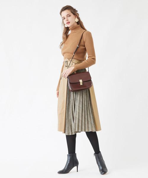 配色プリーツトレンチスカート