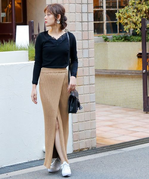 [Doula Doula] フロントラップスリット リブロングニットスカート