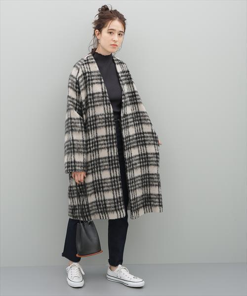 [ADAM ET ROPE'] モヘヤシャギーノーカラーコート