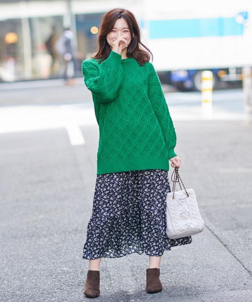 [Discoat] 花柄ティアードスカート