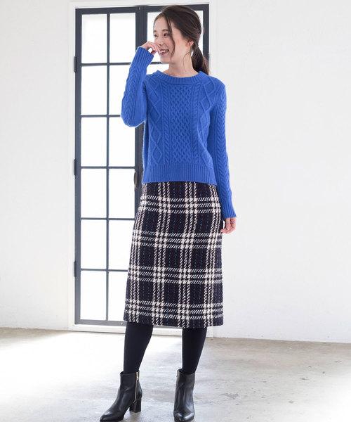 [ANAYI] チェック柄ツイード素材タイトスカート
