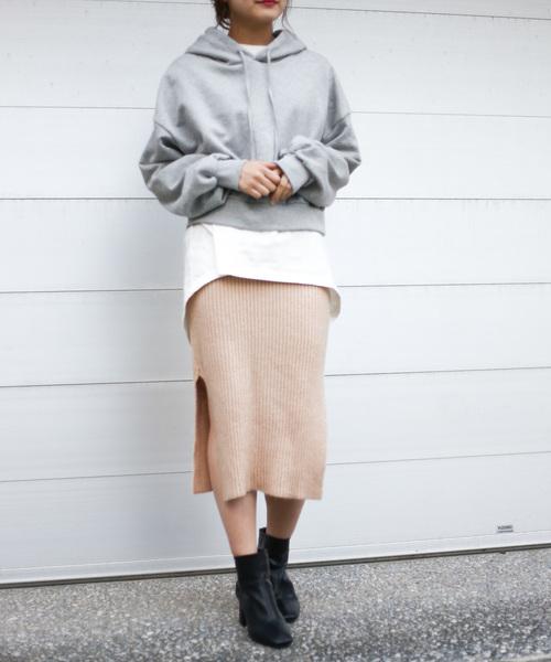 [Auntie Rosa] 【Holiday】起毛ストレッチニットリブダブルスリットスカート