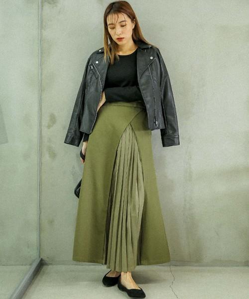 [select MOCA] 変形ツイルスカート(コットン100%ロング丈プリーツデザインスカート)