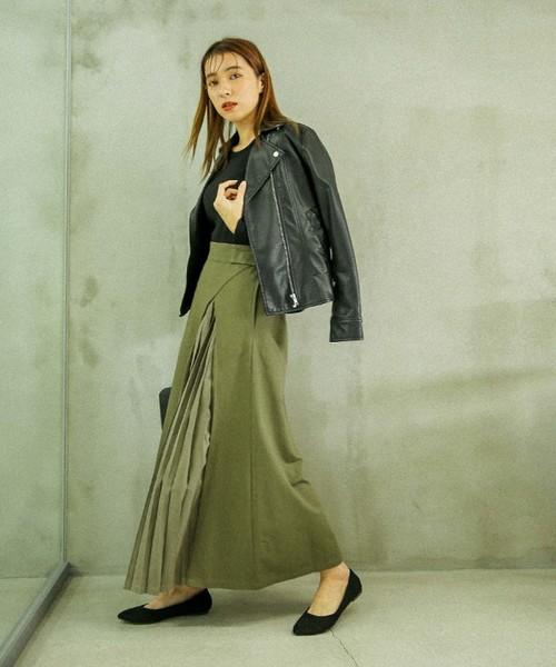 変形ツイルスカート(コットン100%ロング丈プリーツデザインスカート)