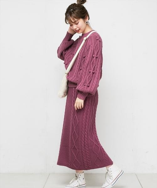 ケーブル編みニットスカート15