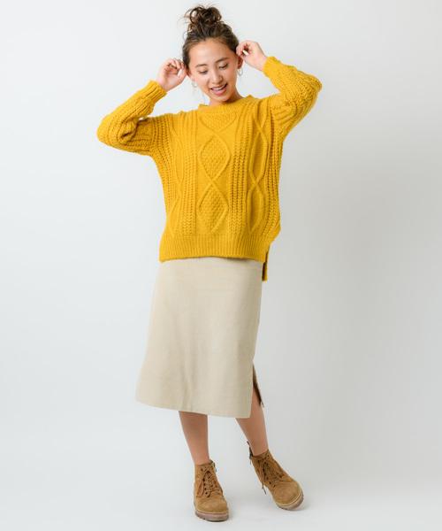 [Auntie Rosa] 【Holiday】スリットコーデュロイスカート◆Web Store限定◆