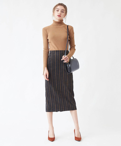 [titivate] ストライプコーデュロイタイトスカート