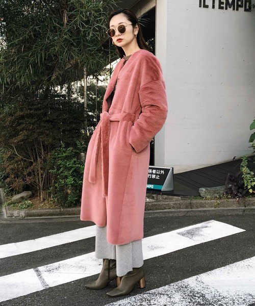 [Ameri VINTAGE] 2WAY SOFT BOA LONG COAT