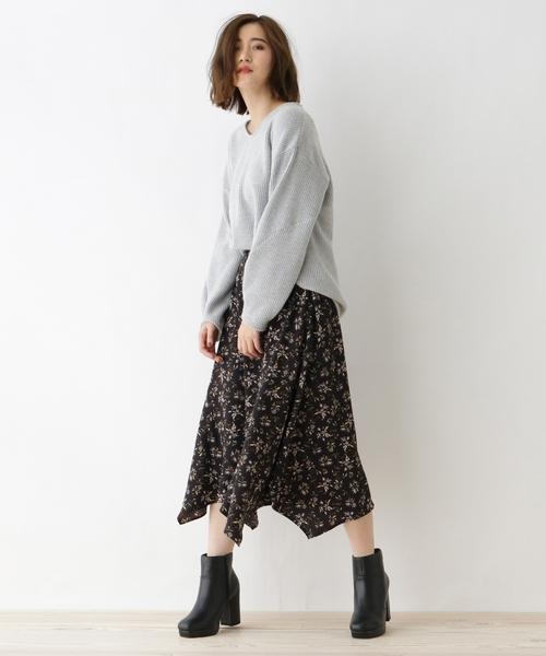 [OZOC] 【洗える】ミモレ丈花柄フレアスカート