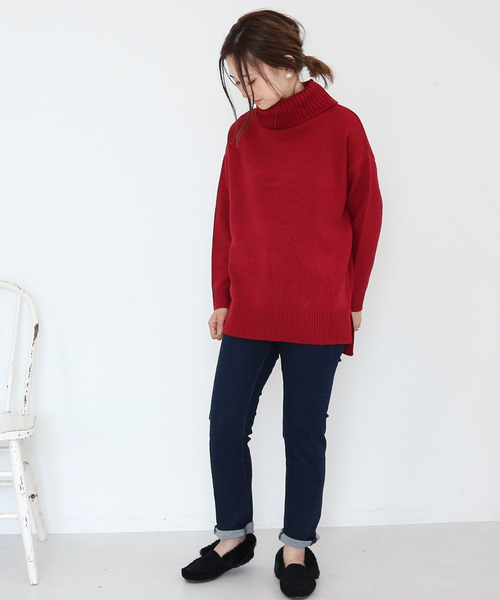 Wool混ニットタートルプルオーバー