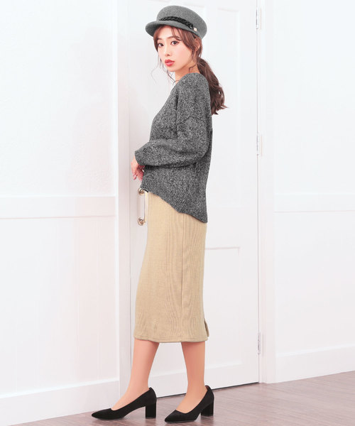 [XOXO by Nina] バックスリットリブスカート